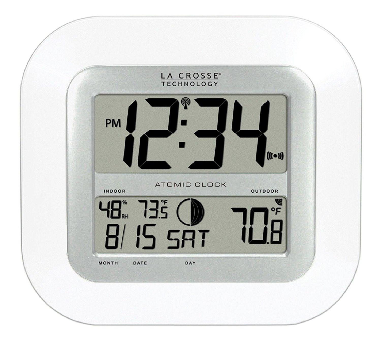 ... KWS-8140-WH La Crosse Technology Atomic Digital Wall Clock IN/OUT Temp