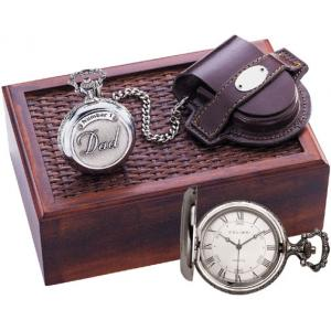 Colibri Pocket Watch w/ 'Number One Dad' Embossed on Cover - Silvertone PWQ-95258-S