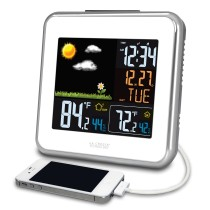 La Crosse Technology 308-146W Atomic Wireless Color Forecast Station with Dew Point, Heat Index, USB charging port
