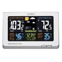 La Crosse Technology 308-1414W Wireless Atomic Digital Color Forecast Station with Alerts, White