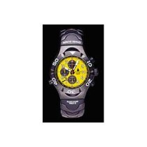 Blackhawk Mach3 Alarm Chronograph in silver stainless steel with a yellow dial.