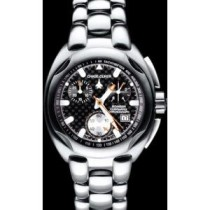 Chase-Durer Bomber Command Chronograph in Stainless Steel w/ Black Carbon Fiber Dial