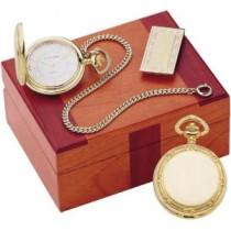 Colibri 500 Series Picture Frame Gold Tone Quartz Pocket Watch, Chain and Money Clip Gift Set PWQ-96009-S