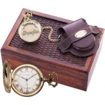 "Colibri Pocket Watch w/ ""Number One Grandpa"" Embossed on Cover- Goldtone PWQ-95259-S"