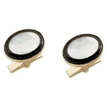 Dolan and Bullock Oval Mother of Pearl With Onyx Outline Cuff Links KCL-918M