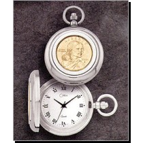 Colibri Coin Collection Gold Sacagawea Dollar Quartz Pocket Timepiece PWS-96021