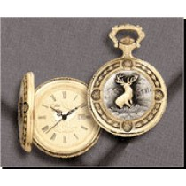 Old World Series Colibri Pocket Watch, Deer / Buck, Date, Gold-Tone PWS-95210-W