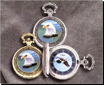 Colibri Wildlife Series Eagle Quartz Pocket Timepiece (Gold-tone) PWS-95855-S
